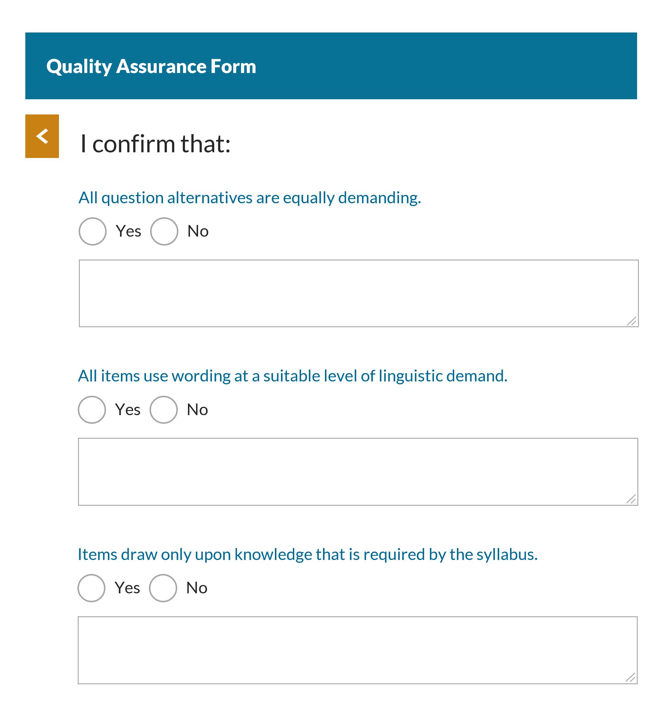GradeMaker Quality Assurance Form